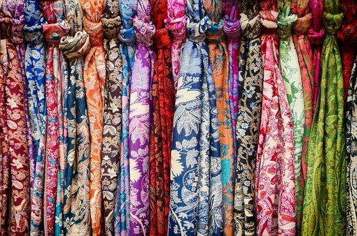Neck Scarves, Market, Selection, Colors, Colorful