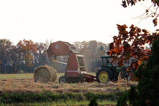 Making Hay, Farming, Tractor, Hay Baler, Baling Machine