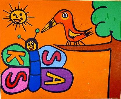 Graffiti, Barañain, Navarre, Art, Bird, Insect