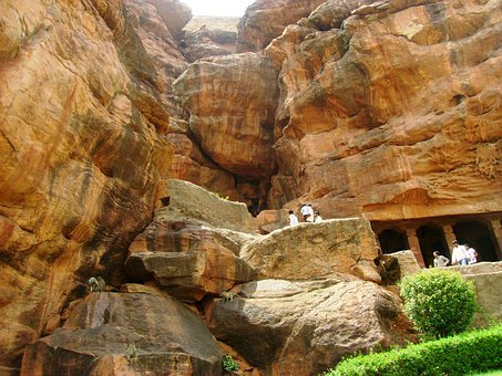 Caves, Badami, India, Landscape, Wilderness, Scenery