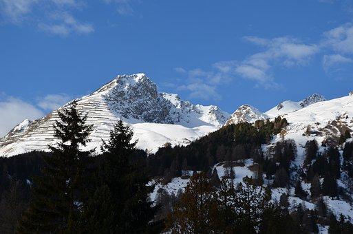 Davos, Mountains, Snow, Switzerland, Landscape, Winter