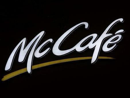 Advertisement, Neon Sign, Cafe, Mccafe, Mcdonalds