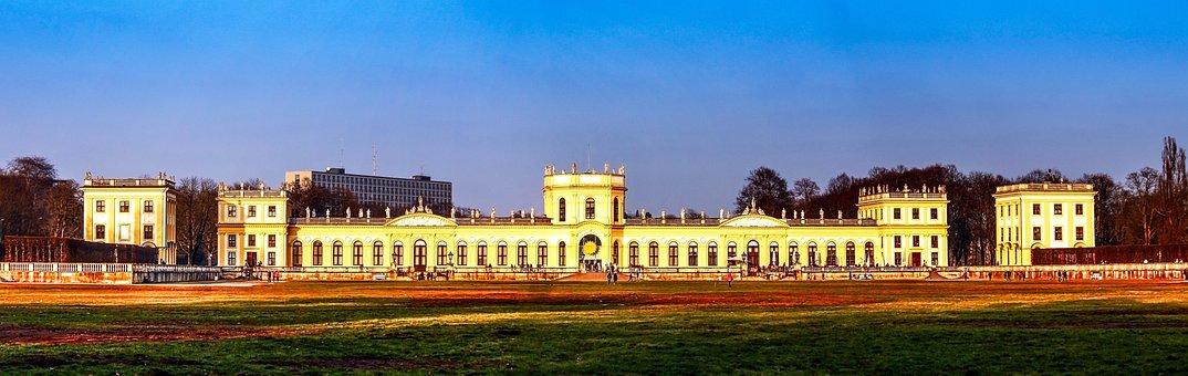 Yellow, Old, Panorama, Orangery, Kassel, City Palace