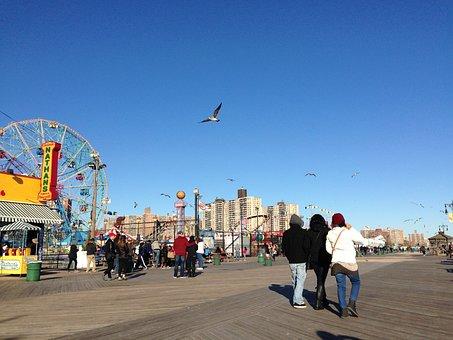 Coney Island Beach, Park, Fun, Sky, Summer, Usa