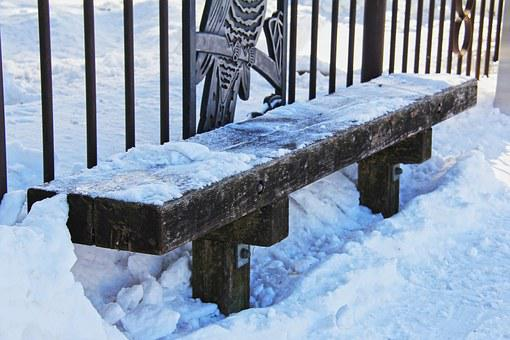 Chair, Wood, Winter, Cold, Quiet, Park, Fencing, Snow