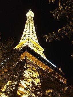 Las Vegas, Eiffel, Lighting, Replica, Sculpture