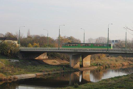 Bridge, River, Warta River, Tram