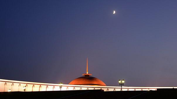 Moscow, Poklonnaya Gora, Night, Russia