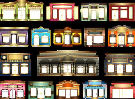 Stores, Store Fronts, Set, Building, Window, Door