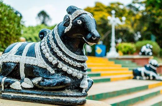 Bull, Statue, Figure, Shrine, Nandi, Park, India