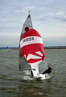 Sailboat, Sail, Red, Spinaker, Yachtsmen, Norsey Island