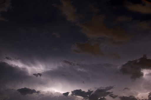 Thunderstorm, Lightning, Clouds, Night, Weather, Storm