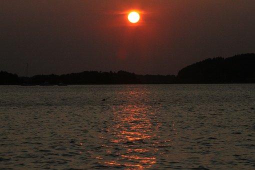 Sunset, Essex River, River, Water, Hills, Dusk