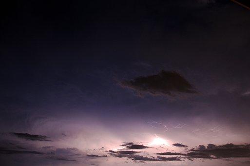 Thunder, Lightning, Clouds, Night, Thunderstorm