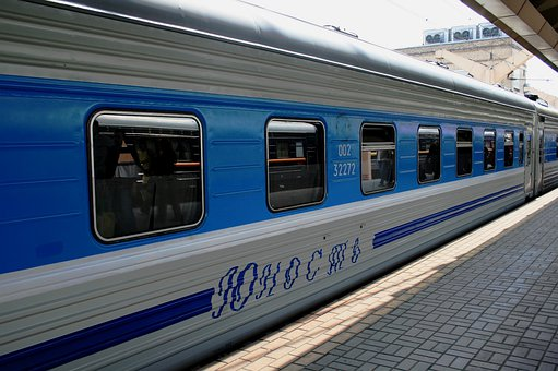 Train, Bright Blue And Silver, Russian, Station