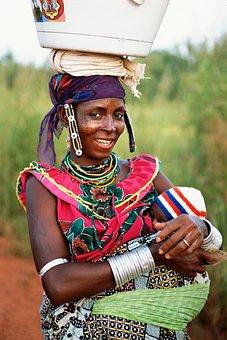 Benin, Woman, Baby, Smiling, Portrait, Nature, Outside