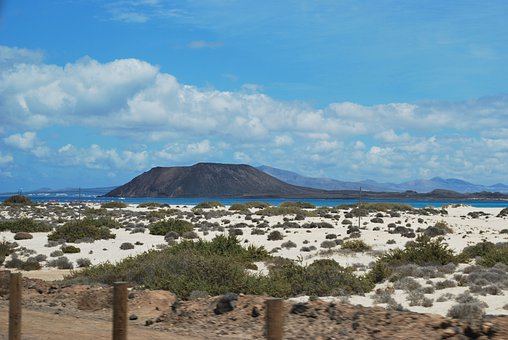 View, Clouds, Sky, Fuerta Ventura, Blue