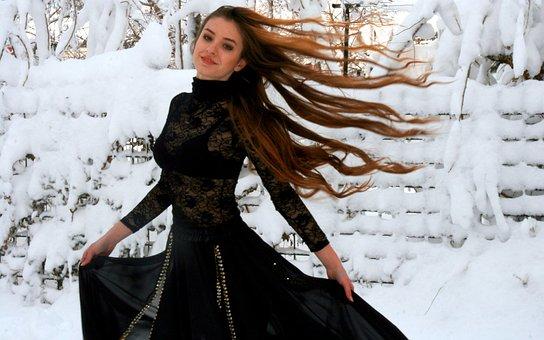 Girl, Dance, Snow, Long Hair, Wind, Black, Dress