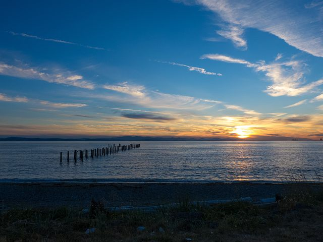 Landscape, Golden Sunset, Sundown, Point Roberts, Ocean