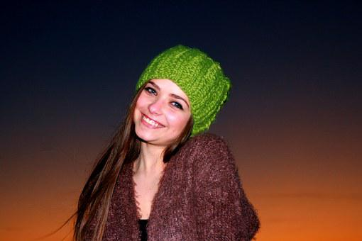 Girl, Sunset, In The Evening, Green Eyes, Hat, Sky