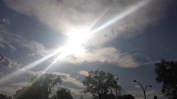 Sun, Burst, Light, Sky, Clouds, Cloud, Blue, White
