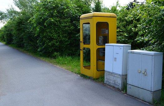 Yellow, Phone, Phone Booth, Emergency, Telekom, Post