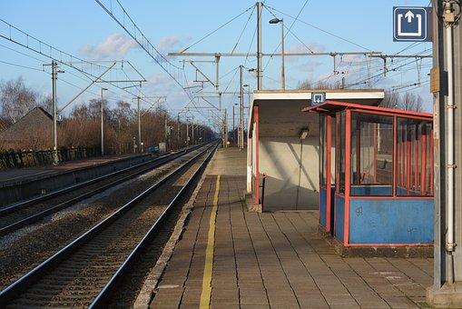 Station, Tracks, Railway, Guard Booth