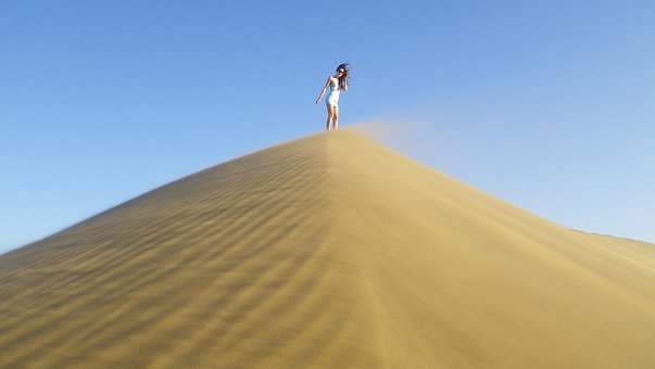Girl On Sand Dune, Dune, Model, Sand