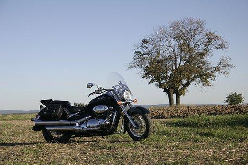Motorcycle, Suzuki, Bike, Black, New, Shiny, Parked