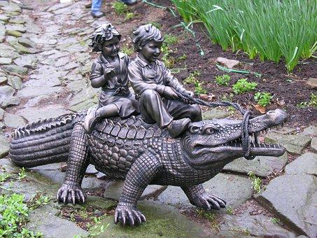 Sculpture, Statue, Alligator, Children, Backyard
