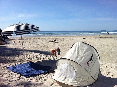 Beach, Tent, Sun, Sand, Ocean