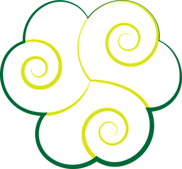 Cloud, Celtic, Green, Yellow, Illumination, Triskell