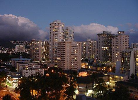 Usa, Hawaii, Honolulu, Beach, Waikiki, Diamond Head