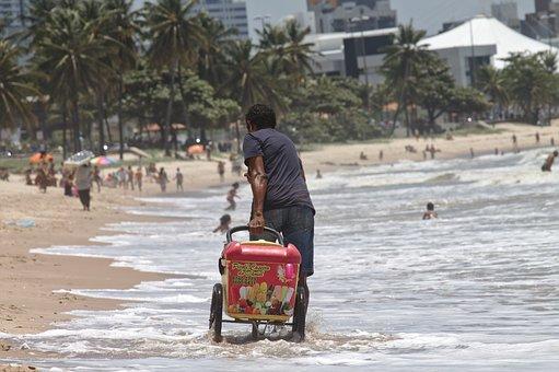 Work, Beach, Seller, On Wheels, Popsicle, João Pessoa