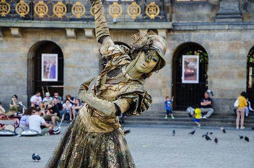 Amtrdam, Art, Gold, Street, Artist, Bronze, Statue