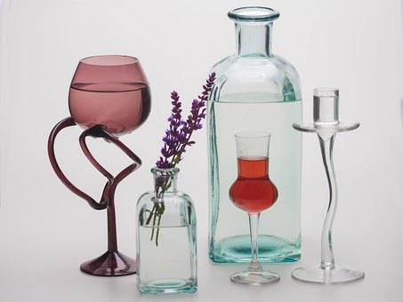 Still Life, Flower, Bottles, Chalices, Glasses