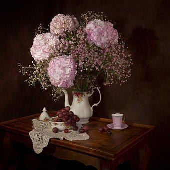 Still Lifes, Flowers, Hydrangea, Bouquet, Flowering