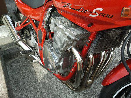 Engine, Bandit, 600, Motorbike, Chrome, Red, Bike