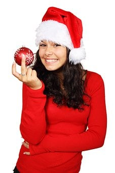 Ball, Bauble, Christmas, Claus, Decoration, Female