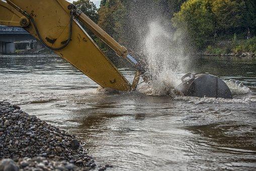 Excavators, Danube, Ulm, Bank, River, Water