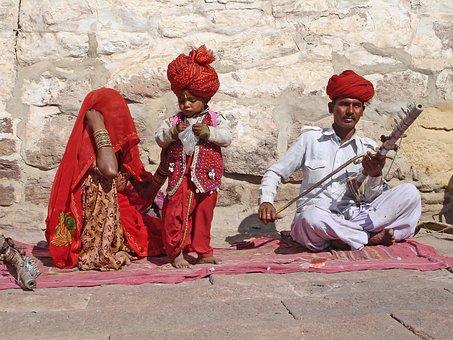 India, Jodhpur, Family, Music, Street Music, Child