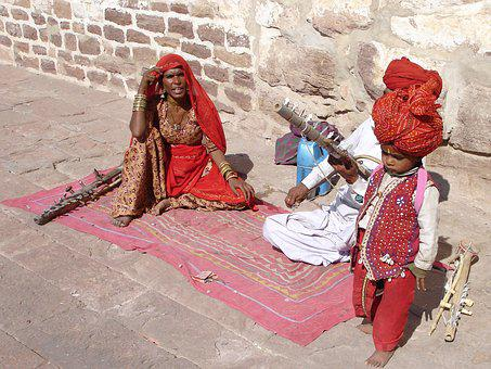 India, Jodhpur, Family, Music, Street Music, Child