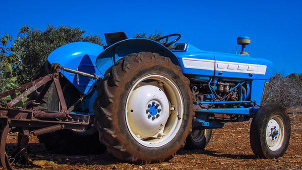 Tractor, Blue, Agriculture, Field, Farm, Rural, Vehicle