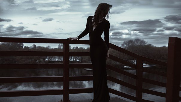 Long Dress, Slim, Girl, Model, Bright Silhouette