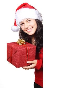 Board, Christmas, Claus, Female, Gift, Girl, Happy, Hat