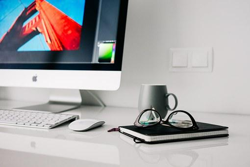 Office, Home, Glasses, Workspace, Desktop, Notebook