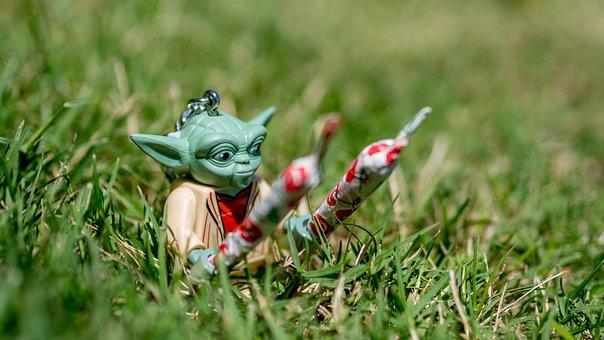 Yoda, Grass, Perspective, Toy, Figure, Jedi, Star Wars
