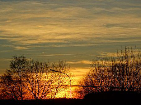 Sunset, Street Lamp, Trees, Sky, Clouds, Mood, Sunlight