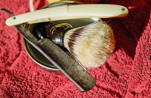Razor, Knife, Carbon Steel, Horn Handle, Shaving Brush