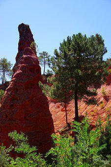 Pinnacle, Rock, Ocher Rocks, Roussillon, Red, Reddish